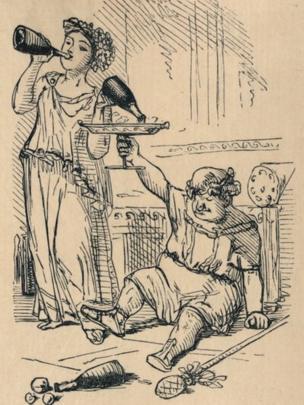همانطور که در این کاریکاتور قرن ۱۹ انگلیسی میبینید، رومیها علاقهٔ خاصی به مهمانیهای مفصل داشتند