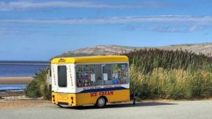 An ice cream van in a tranquil spot at the Conwy Morfa