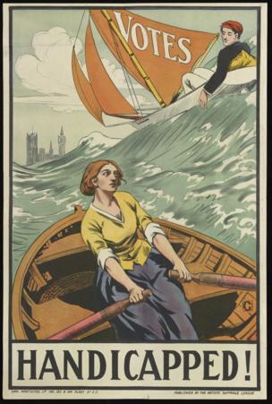 「殘疾」出自英國著名文學藝術團體布盧姆伯利集團的藝術家鄧肯·格蘭特之手。這幅海報上的男青年乘風破浪,而小划船裏的女子卻只能獨自搏擊風浪。