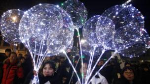 Tahun baru, kembang api, Seoul, Korea Selatan