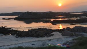 Sunset over Iona from Mull