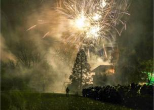 Fireworks in a school ground