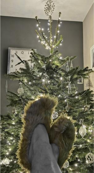 in_pictures Christmas tree and slippers