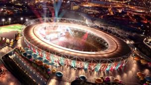 Computer generated image of how the 2012 Olympic Stadium will look when West Ham move in