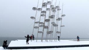 ग्रीस में बर्फ़बारी
