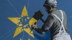 illustration of a playa chippin a star off tha EU flag
