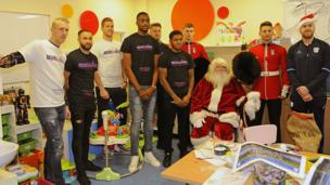 Players from Cardiff City, including striker Anthony Pilkington and Kadeem Harris visited the The Noah's Ark Children's Hospital for Wales in Heath in Cardiff. They joined Father Christmas giving out toys and treats to young patients