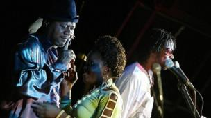Papa Wemba on stage with his band in 2006