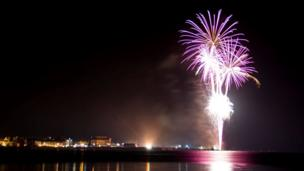 Fireworks at Beaumaris on Anglesey.