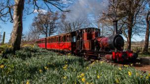 The steam locomotive Dolgoch at work on the Talyllyn Railway
