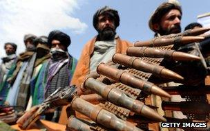 Former Taliban fighters display their weapons, Herat, 2012