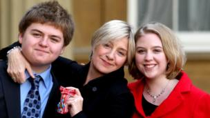 Victoria Wood with children Henry and Grace at Buckingham Palace