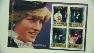 Commemorative stamps of Diana, Princess of Wales. North Korea and the United Kingdom established diplomatic relations in 2000.
