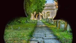 All Saints Church, Didcot, through the gate.