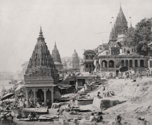 Varanasi (formerly Benares), Vishnu, temples on the Ganges, 1866, Courtesy MAP / Tasveer