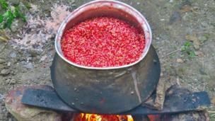 سپس دانههای انار را در یه دیگ یا تشت بزرگ به صورت غرقآبی میشورند. با این شیوه پوستهای ریز انار روب آب میآید و میشود آن را جدا کرد. در غیر این صورت ترشی انار تلخ و نامرغوب میشود.