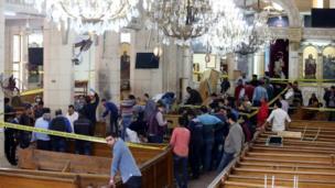 كنيسة مارجرجس في أعقاب الهجوم الذي استهدفها صباح اليوم