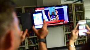 Turkish President Recep Tayyip Erdogan speaks on CnnTurk via facetime call