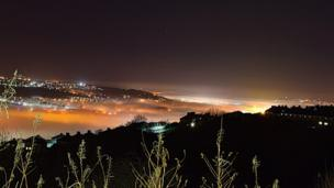 A misty night's view over Swansea and Cwmbwrla, courtesy of Ashley Williams
