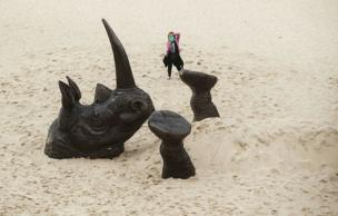 It is not every day that you see a 7m long upside down rhino at Tamarama Beach.