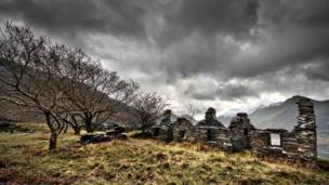 Reaims of quarrymen's hut at Dinorwig slate quarry in Gwynedd