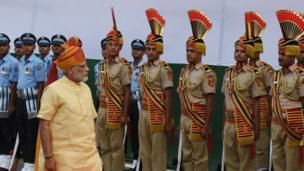Guard of honour arrange themself for India Prime Minister Narendra Modi.