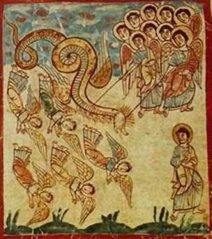 Facsimile de gravura da Idade Média ilustra luta do Arcanjo Miguel contra anjos rebeldes