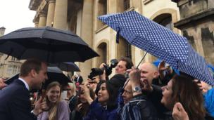 The duke meets crowds as he arrived at the Weston Library