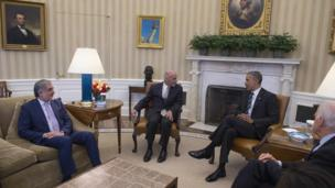دیدار آقای اوباما با رئیس جمهوری و رئیس اجرایی افغانستان در قصر سفید
