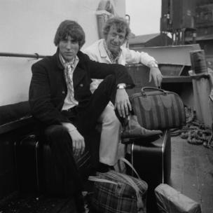 Disc jockeys Johnnie Walker (left) and Robbie Dale, of ship-based pirate radio station Radio Caroline South, at Felixstowe after the British government outlawed the station under the Marine Broadcasting Offences Act, 14 August 1967.