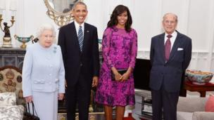 The Queen and the Duke of Edinburgh with Barack and Michelle Obama