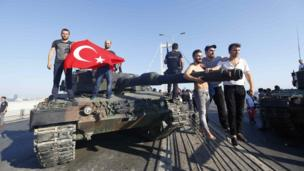 Men pose with a military tank on Bosphorus Bridge