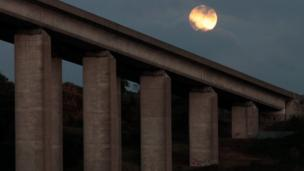 The moon above Orwell Bridge in Ipswich on Sunday night