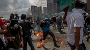 These protests took place in the capital, Caracas, where the action has been centred.