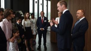 The duke meets the Blavatnik family including Len Blavatnik, right, during a tour of the Blavatnik School of Government
