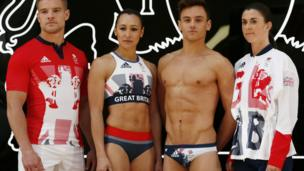 Left to right: Tom Mitchell, Jessica Ennis-Hill, Tom Daley and Olivia Breen