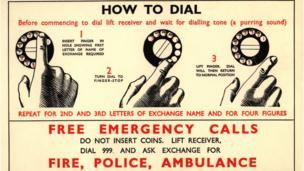 Advert showing how to dial 999 on an old phone.