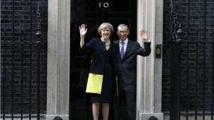 Mrs May and Philip May on the steps of number 10