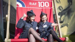 Cast members from 'Girlfriends' a play about women serving in the RAF during the Second World War.