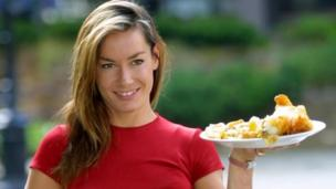 Tara Palmer-Tomkinson during a photocall in London, to launch the 2001 Fish and Chip Shop of the Year on 16 July 2001