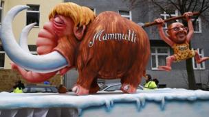 Float mocking Ms Merkel and Martin Schulz