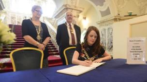Belfast Lord Mayor, Councillor Nuala McAllister, Deputy Lord Mayor, Councillor Sonia Copeland and Belfast High Sheriff Alderman Tom Haire