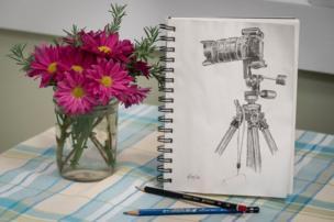 Dibujo de una cámara con flores