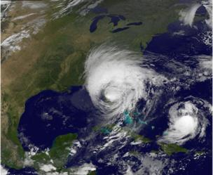 Satellite photo on Monday morning show storm Irma as e dey over Florida while another storm- Jose dey for water. Atlantic Ocean taken at 05:30 GMT, 11 September
