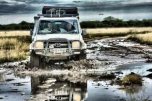 A car going off-road