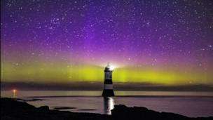 An aurora over Penmon on Anglesey