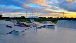 Beautiful clouds over a skate park in Didcot