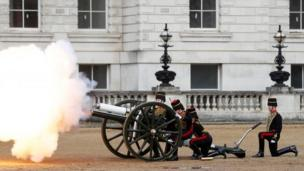 A gun salute at the ceremony in London