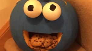 Emma's Cookie Monster pumpkin