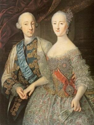 Великий князь Петр Федорович и великая княгиня Екатерина Алексеевна (портрет кисти Георга Гроота)